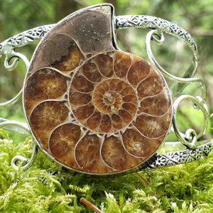 ammonite fossilisée ou opalisée montée en bracelet rigide, sur mousse forêt