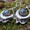 Boucles d'oreilles en labradorite bleue, pierre naturelle, esprit boho gipsy