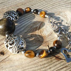 bracelet de protection, en obsidienne et oeil de tigre
