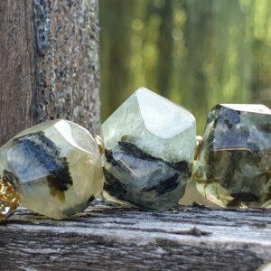 Bracelet soin en prehnite, protection, pierre naturelle verte et épidote