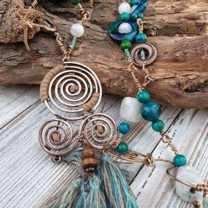 collier sautoir en chrysocolle et pierre de lune, collier de soin émotion