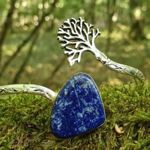 Bracelet lapis-lazuli, pierre naturelle bleue parsemée de pyrite, arbre de vie