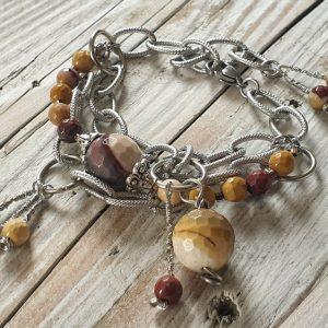 bracelet mokaite ou jaspe australien, large chaine en acier inoxydable
