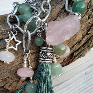 Bracelet aventurine verte et quartz rose, avec tassel sur acier inoxydable