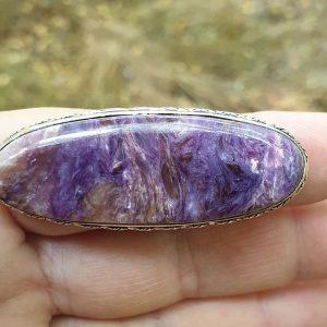 Bague en pierre charoite, taille 55, pierre naturelle violette de Russie