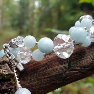 Bracelet en aquamarine avec perle de cristal en verre, style bohème gipsy