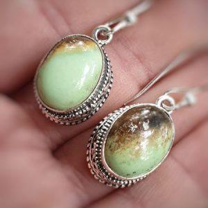 Boucles d'oreilles en chrysoprase boulder lemon citron, au look baroque