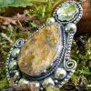 Pendentif en agate plume véritable, pierre naturelle sertie sur pendentif tribal ethnique, pendentif unique