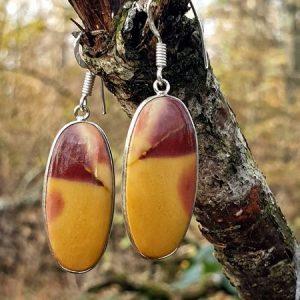 Boucles d'oreilles en jaspe mokaite, pierre naturelle australienne