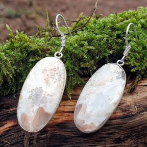 boucles d'oreilles en pierre naturelle de scolécite, pierre angélique