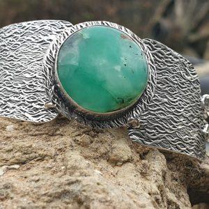 Bracelet en chrysoprase naturelle, pierre verte, sertie sur métal embouti