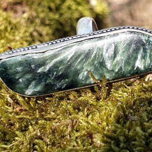 Bague en séraphinite, pierre verte naturelle de sibérie