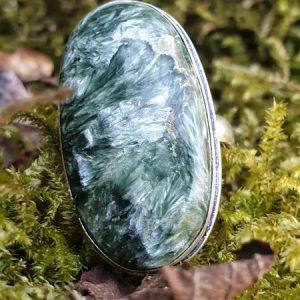Bague en séraphinite ovale, taille 57, pierre naturelle verte de Russie