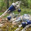 Collier pendule pendentif en lapis lazuli, thème de l'egypte avec perles en verre