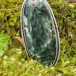 Seraphinite pierre de russie montée en bague