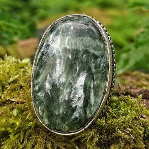 bague en séraphinite ovale, pierre russie, naturelle