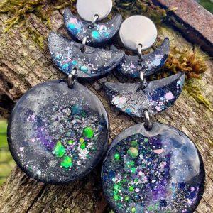 boucles d'oreilles en forme de croissant de lune, avec glitter paillettes, nébuleuse