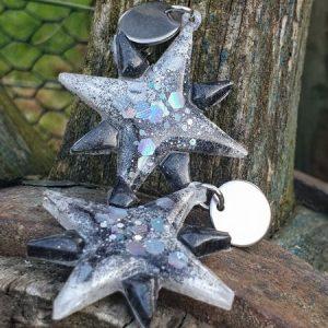 Boucles d'oreille étoile glitter en résine époxy, galaxie
