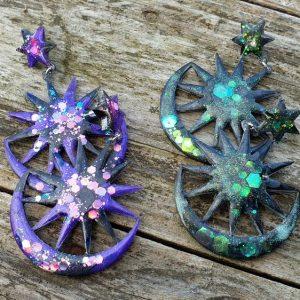 Boucles d'oreilles glitter, forme céleste avec lune et étoile